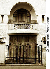 Antibes 22 - Gate and door of a building in Antibes, France...