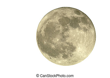 2400mm Full Moon, Isolated - True full April moon Michigan,...