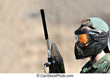 paintball - gotcha - paintball player with mask after being...