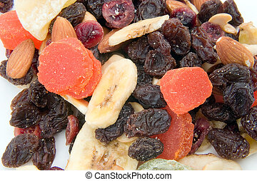 Snack - An assortment of dried fruit as a snack mix