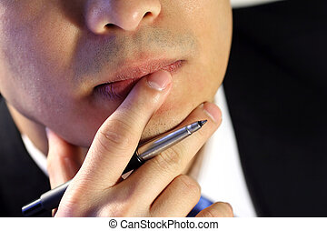 Businessman - Thinking businessman, trying to make a...