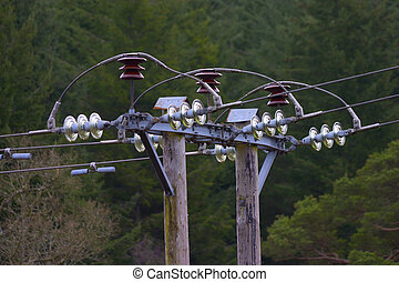 Power Lines - Overhead power lines intersection