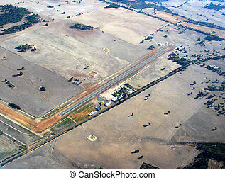Airstrip in outback - Aerial view of an airstrip