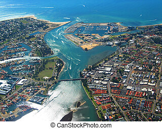 Coastal Town 5 - Aerial View of Coastal Town. View of River...