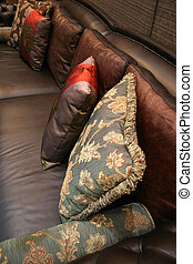 Pillows on a sofa - home interiors - Sofa and pillows in a...