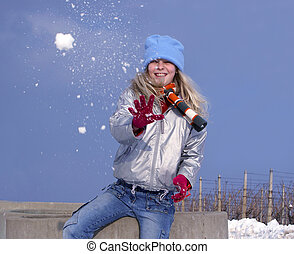 Girl with snowball - Young girl with snowball