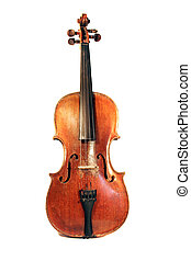Antique Violin fiddle with focus on scroll