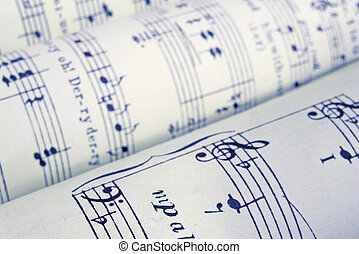 sheet music - old rolled-up music