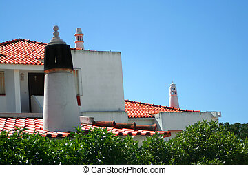 chimneys and rooftops