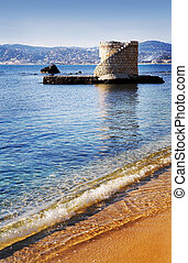 Antibes 223 - Ruins surrounded by water in Antibes, France...