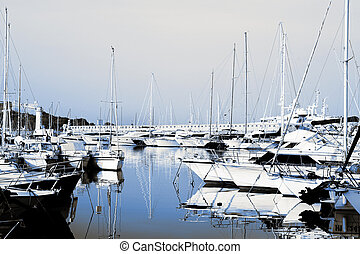 Antibes #282 - A harbor in Antibes, France. Duo tone. Copy...