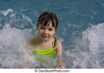 girl in pool - happy girl