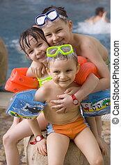 family - children on the beach