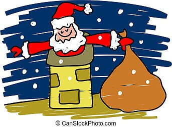 santa claus - santa trying to squeeze down a chimney -...
