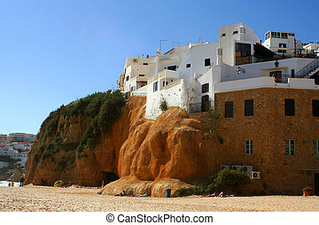beach house - beach homes on a cliff in Albufeira, Algarve,...