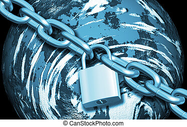 Protecting the world - Padlock and chain over Earth