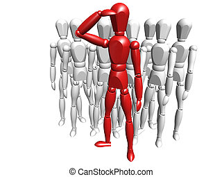 Leadership - 3D render of one person leading a crowd