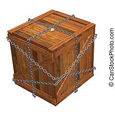 Crate with chains - 3D render of wooden crate with chains