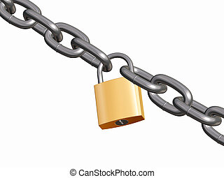 Padlock and chain - 3D render of padlock and chain