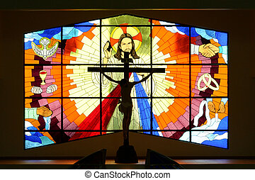 Church Stained Class - Stained glass window in a new...