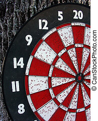 Old Dart Board - a well used dartboard