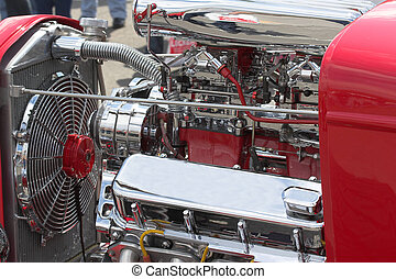 streetrods & chrome - closeup of motor in street rod in...