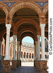 Seville archways - Plaza de Espana in Seville, Spain