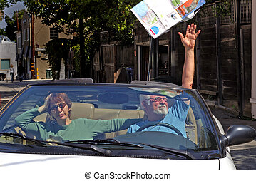 Chuck the map - Frustrated man throws map out the car
