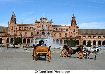 seville tourists - Plaza de Espana in Seville, Spain