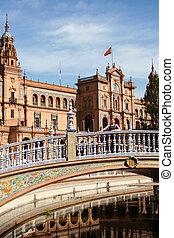Historic buildings 2 - Woman on bridge at Plaza de Espana in...