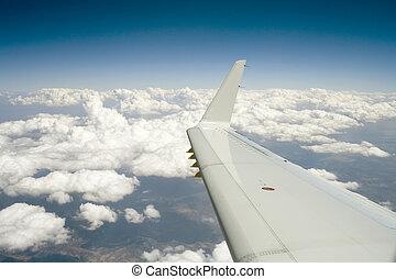 vuelo, azul, horizonte