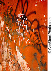 Graffiti: The Crew - Graffiti on bright orange wall