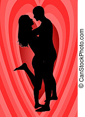 In love - couple in love on heart-shaped background