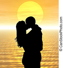 Sunset kiss - Kissing in the sunset