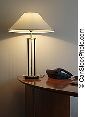 office desk with lamp - office lamp on a desk with telephone