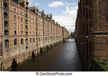 Speicherstadt - The Speicherstadt, an ancient brick-built...