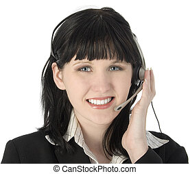 Smiling Service Girl - Beautiful young customer service rep...