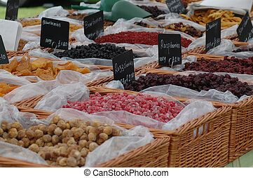 Health Foods - Health foods on a market stall