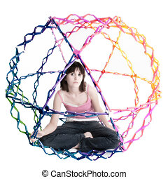 Collapsible Rainbow Colored Ball - Beatiful teen girl inside...