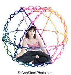 Collapsible Rainbow Colored Ball - Beatiful teen girl inside...