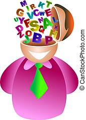 alphabet brain - man with all the letters of the alphabet...