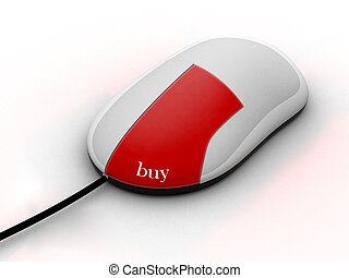 buy on-line - white mouse with a red button and the...