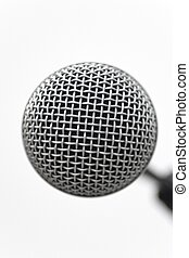Mic Head Closeup - Classic dynamic microphone on a white...