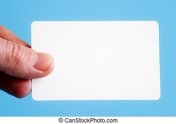 Blank business card - Man holding a white business card on a...