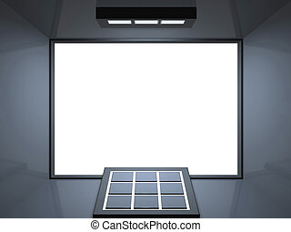 Remote theatre - silver blue - Blank screen cinema with...