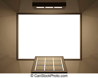 Virtual showroom - gold bronze - Blank screen cinema with...