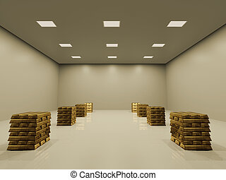 Federal reserves - Gold ingots in a vault