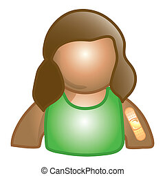 Patient icon - Stylized icon of a little girl patient with a...