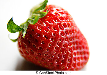 Isolated Beautiful Strawberry Closeup - Delicious looking...