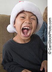 feliz, niño, santa, sombrero